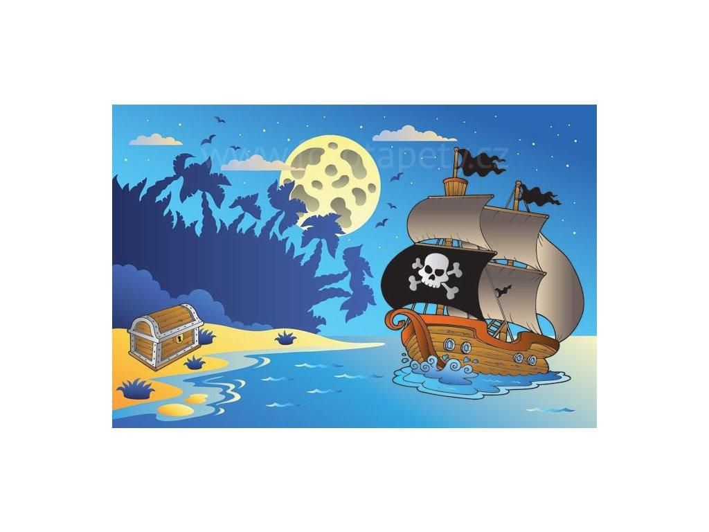 Pětidílná dětská vliesová fototapeta Pirátská loď, rozměr 375x250cm, MS-5-0335