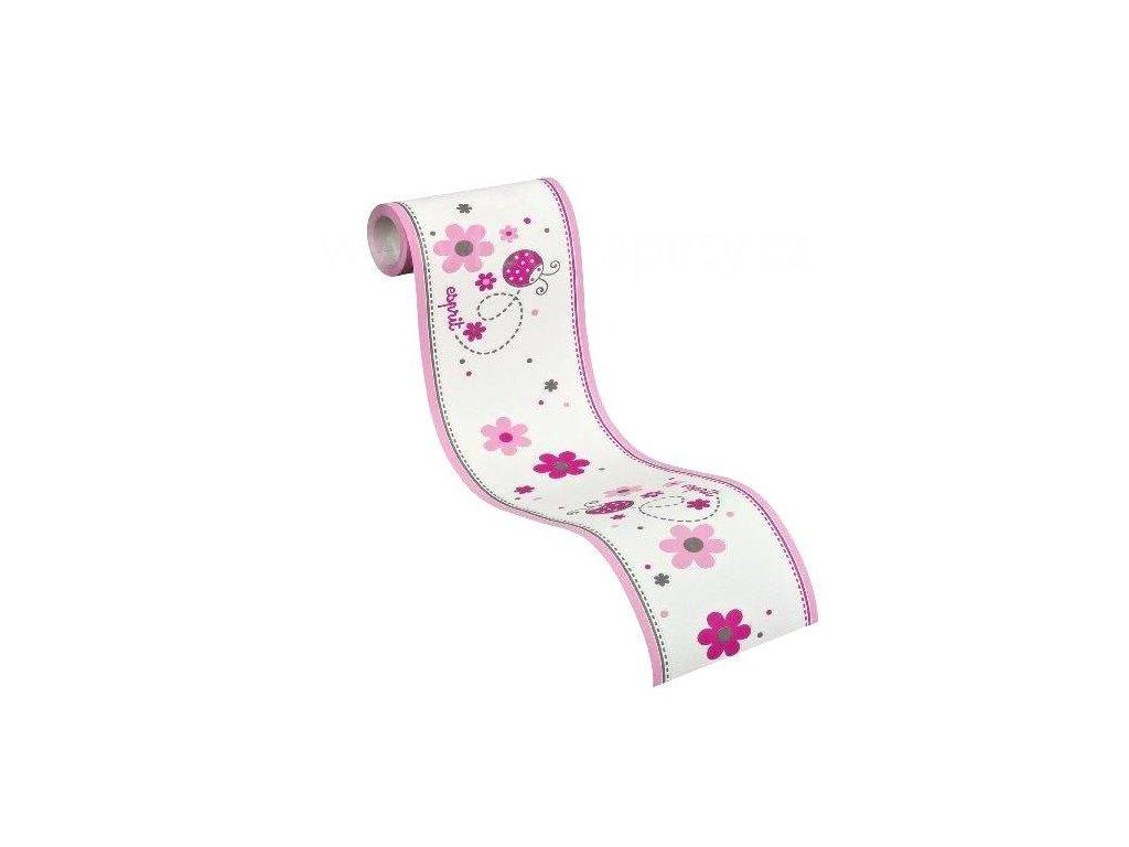 Dětská vliesová bordura Esprit Kids 5, 13cmx5m, 2193-12 - Růžové berušky