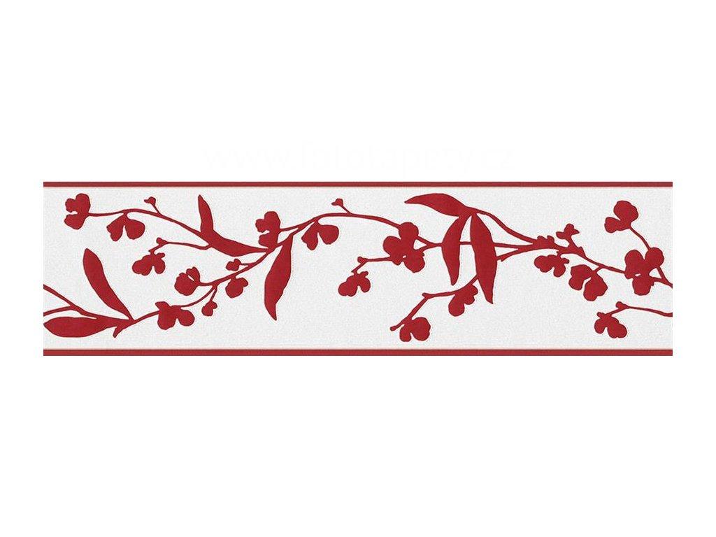 Vliesová bordura Only borders 9, 17cmx5m, 2280-48 - Červené větvičky
