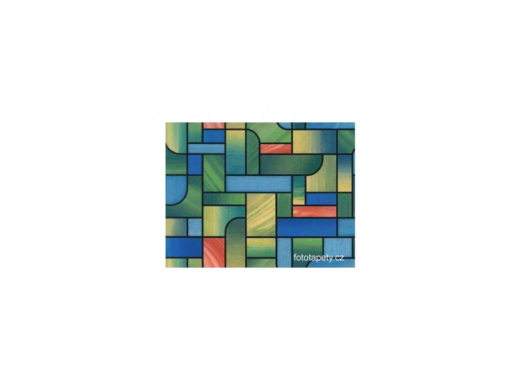 Barevná transparentní samolepící folie, Zeleno modrá vitráž