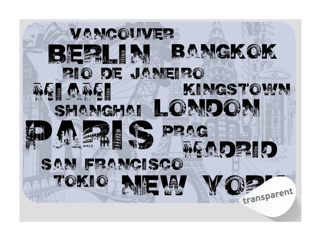 Prostírání na stůl transparentní - Města, 44x29cm, 230-8049
