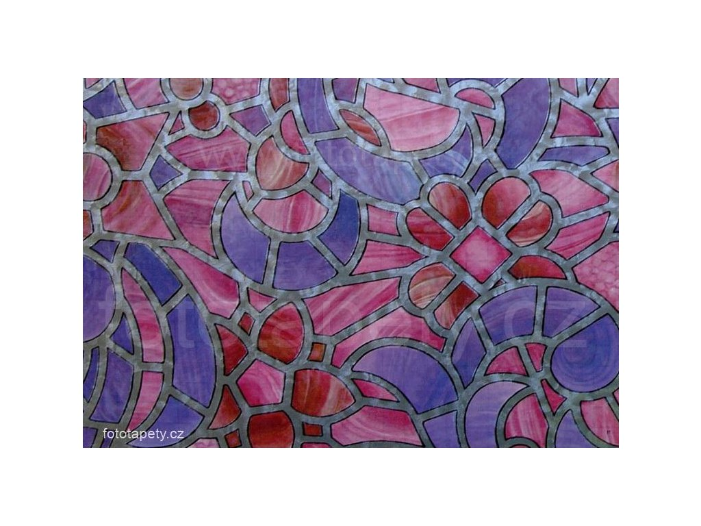 Barevná transparentní samolepící folie šíře 45cm, Růžovo fialová vitráž