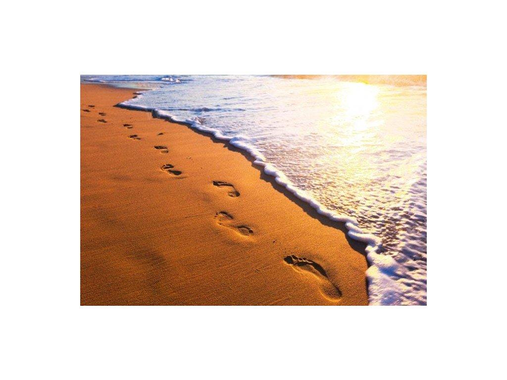 Samolepící fototapeta na podlahu - Stopy v písku, 255x170cm, 009