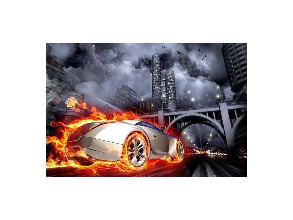 Samolepící fototapeta na podlahu - Auto v plamenech, 255x170cm, 016