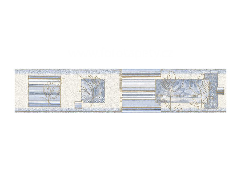 Vinylová bordura Only borders 10 - Modrá abstrakce, 13cmx5m, 2887-21