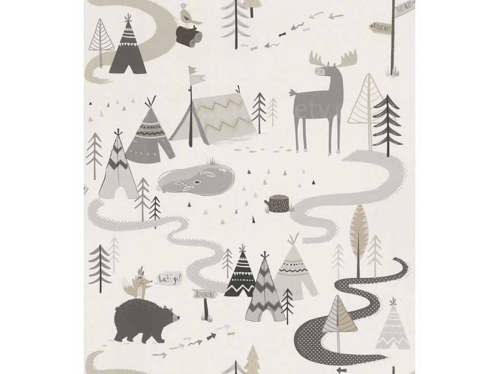 Papírová tapeta na zeď Rasch 292404 - Severská zvířátka, teepe, kolekce Kids & teens III 0,53 x 10,05 m