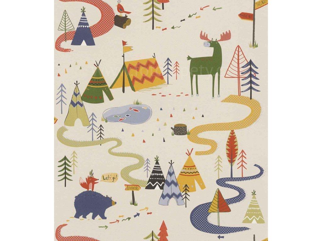 Papírová tapeta na zeď Rasch 292428 - Severská zvířátka, teepe, kolekce Kids & teens III 0,53 x 10,05 m