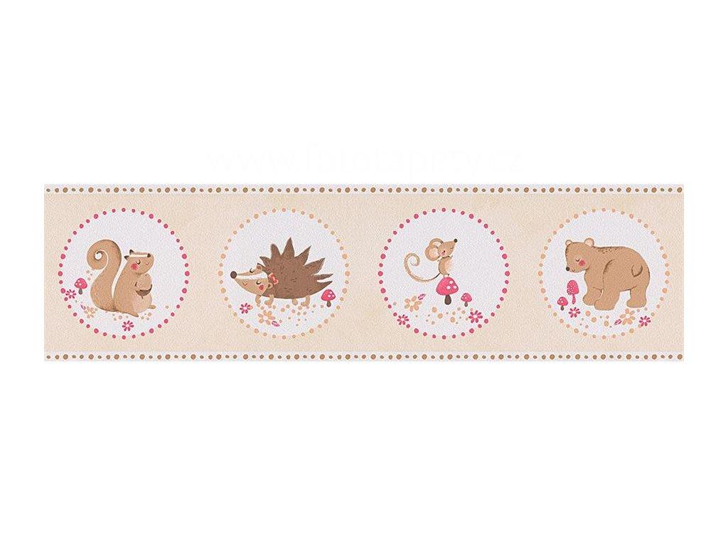 Papírová bordura na zeď Only borders 9 - Ježek, myška, medvídek, veverka, 17cmx5m, 3030-92, poslední 1 ks
