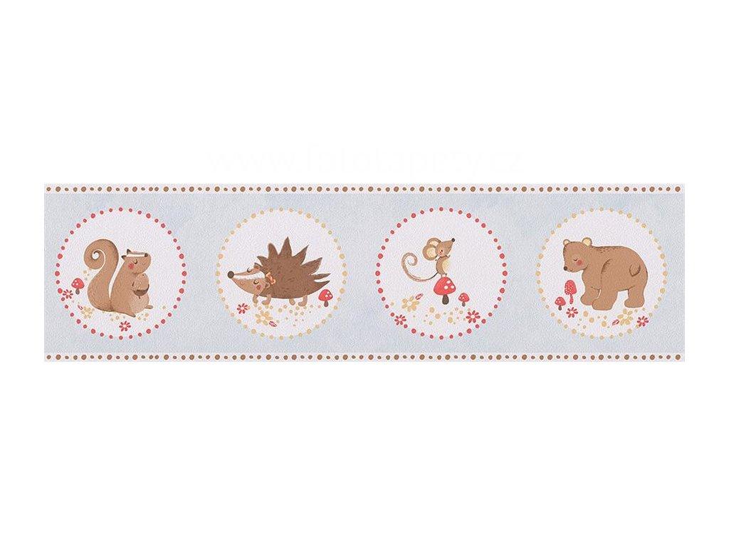 Papírová bordura na zeď Only borders 9 - Ježek, myška, medvídek, veverka, 17cmx5m, 3030-93