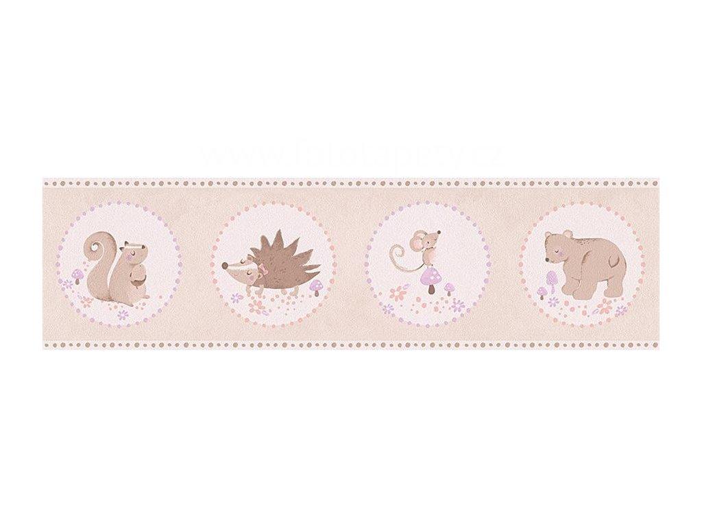 Papírová bordura na zeď Only borders 9 - Ježek, myška, medvídek, veverka, 17cmx5m, 3030-94