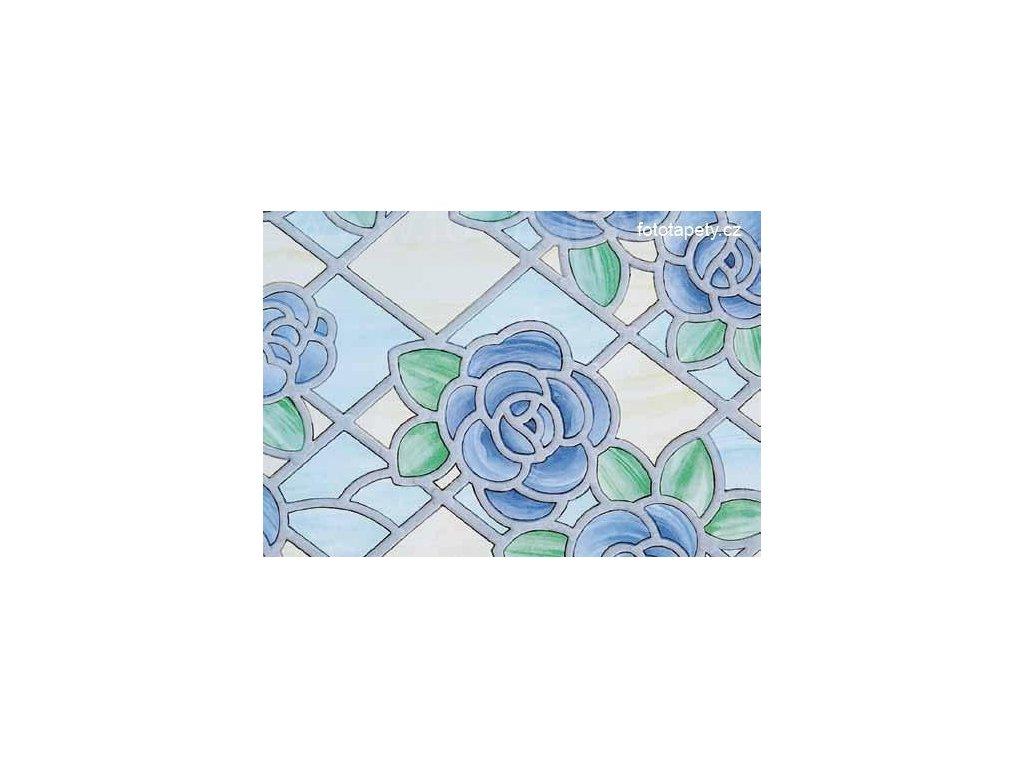 Barevná transparentní samolepící folie, Modré květy II- vitráž