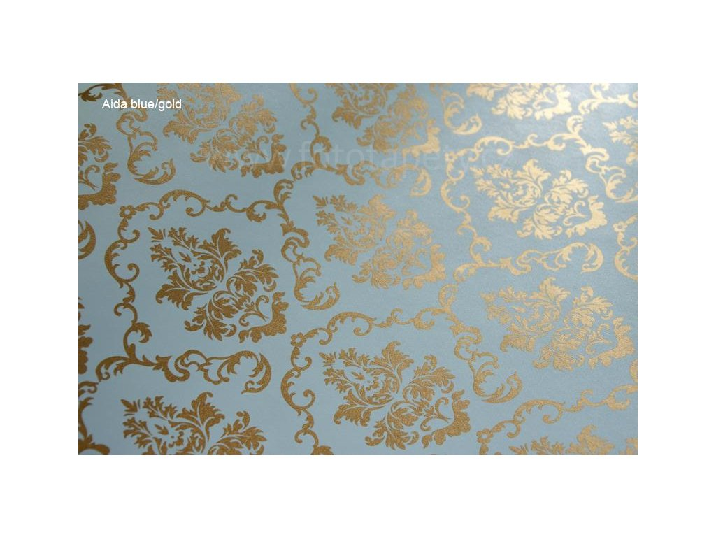 Samolepící fólie imitace Decor, Aida blue/gold
