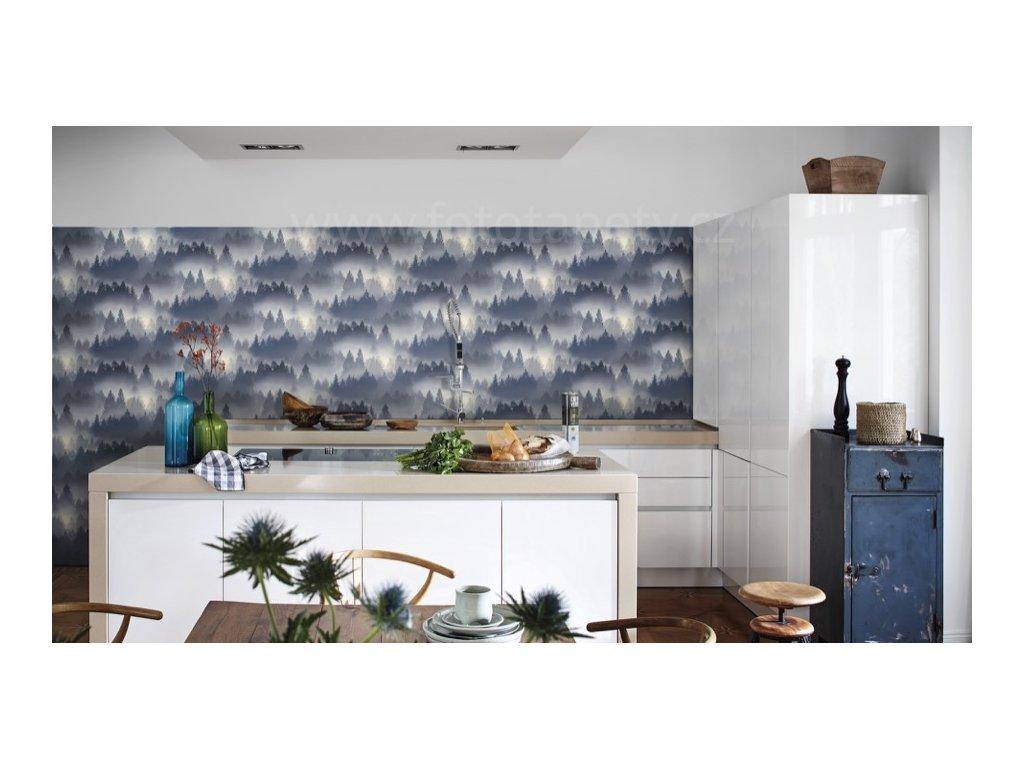 Vliesová tapeta na zeď Rasch 860832 - Modré stromy v mlze, kolekce b.b home passion VI 0,53 x 10,05 m