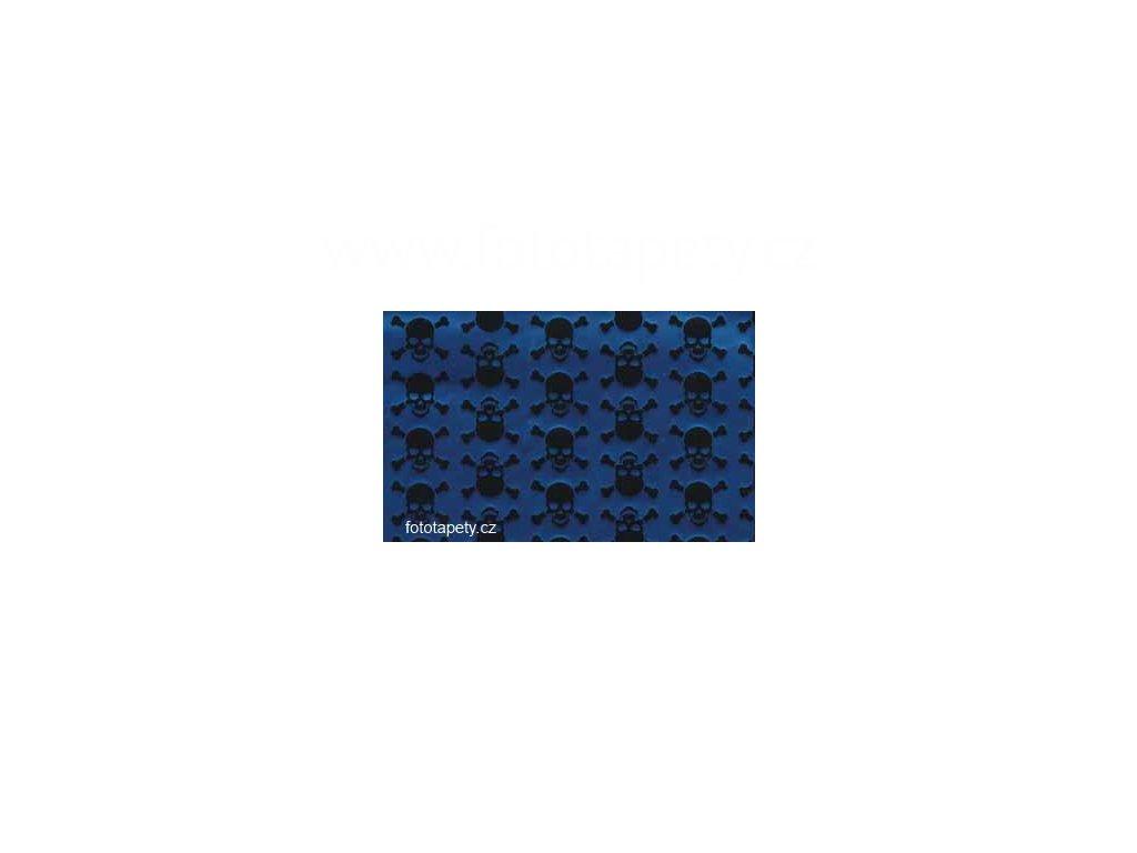 Samolepící fólie decor, Sculls metallic - Modré lebky