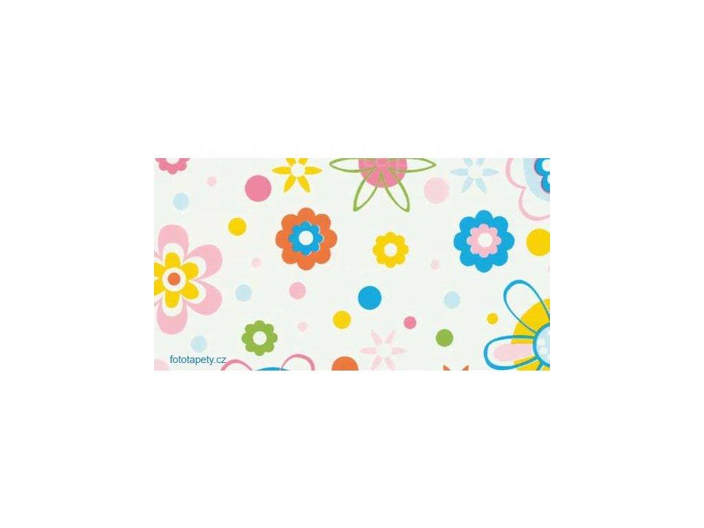 Samolepící dětská  fólie Decor - Barevné kruhy a květy