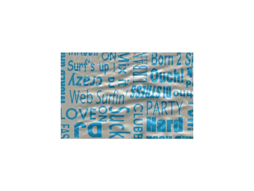 Samolepící fólie imitace Decor, Text modrý