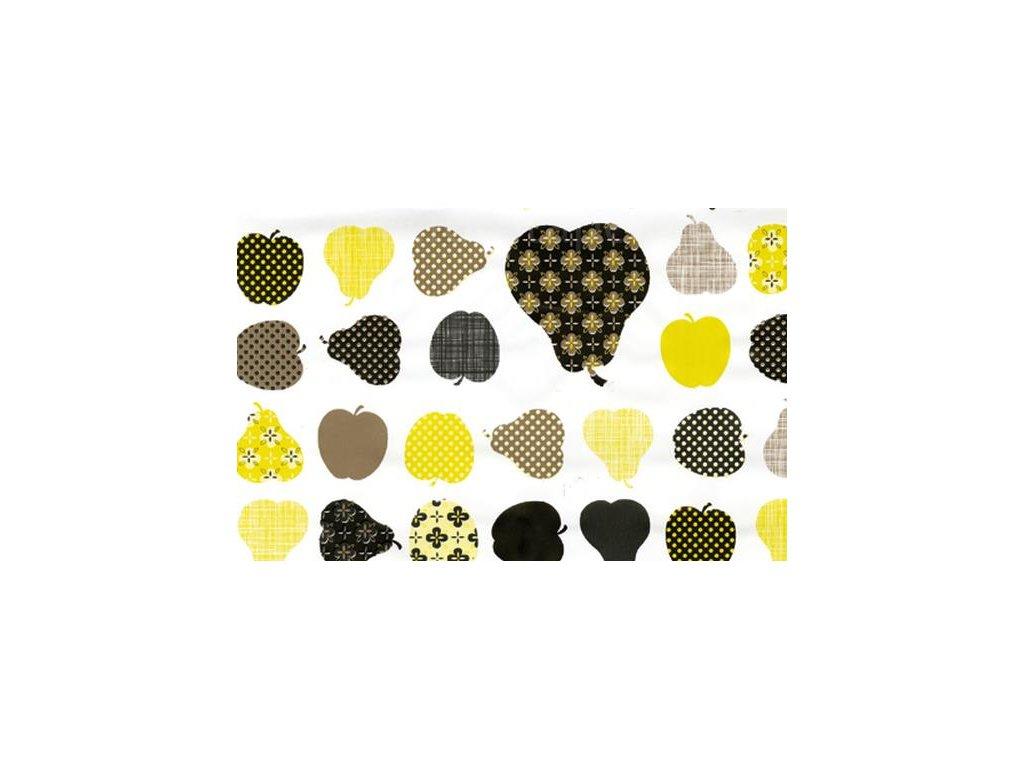 Samolepící fólie imitace Decor, Jablka a hrušky - žluté