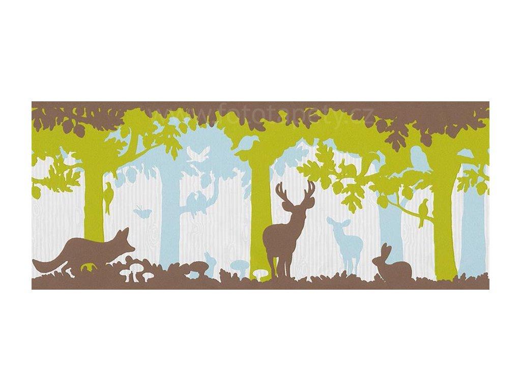Vliesová bordura na zeď Only borders 9, 26,5cm x 5 m, 1312-25 - Zvířátka v lese