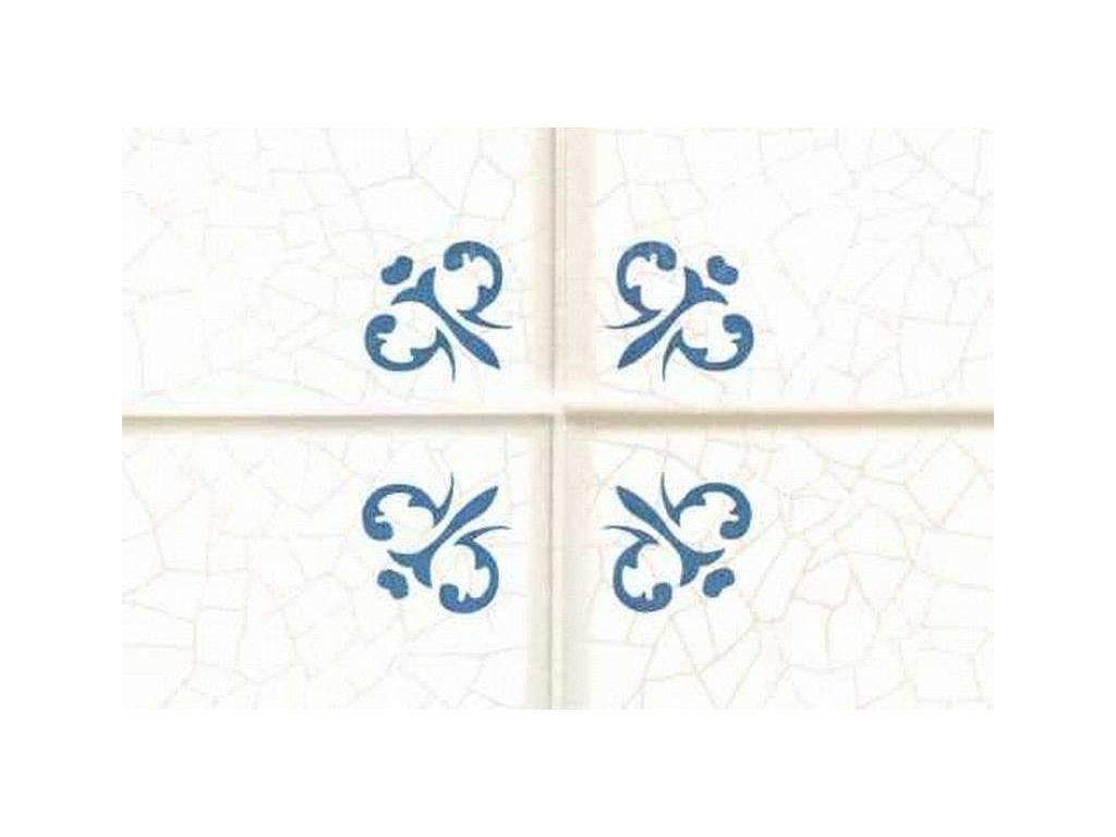 Samolepící folie imitace obkladaček, Kachličky s modrým ornamentem
