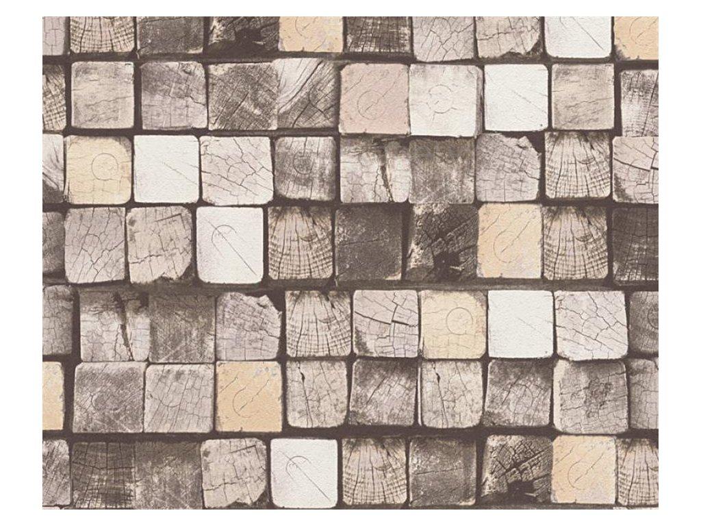 Vliesová tapeta na zeď Free Nature, 0,53x10,05m, 3445-23 - dřevěné hranoly
