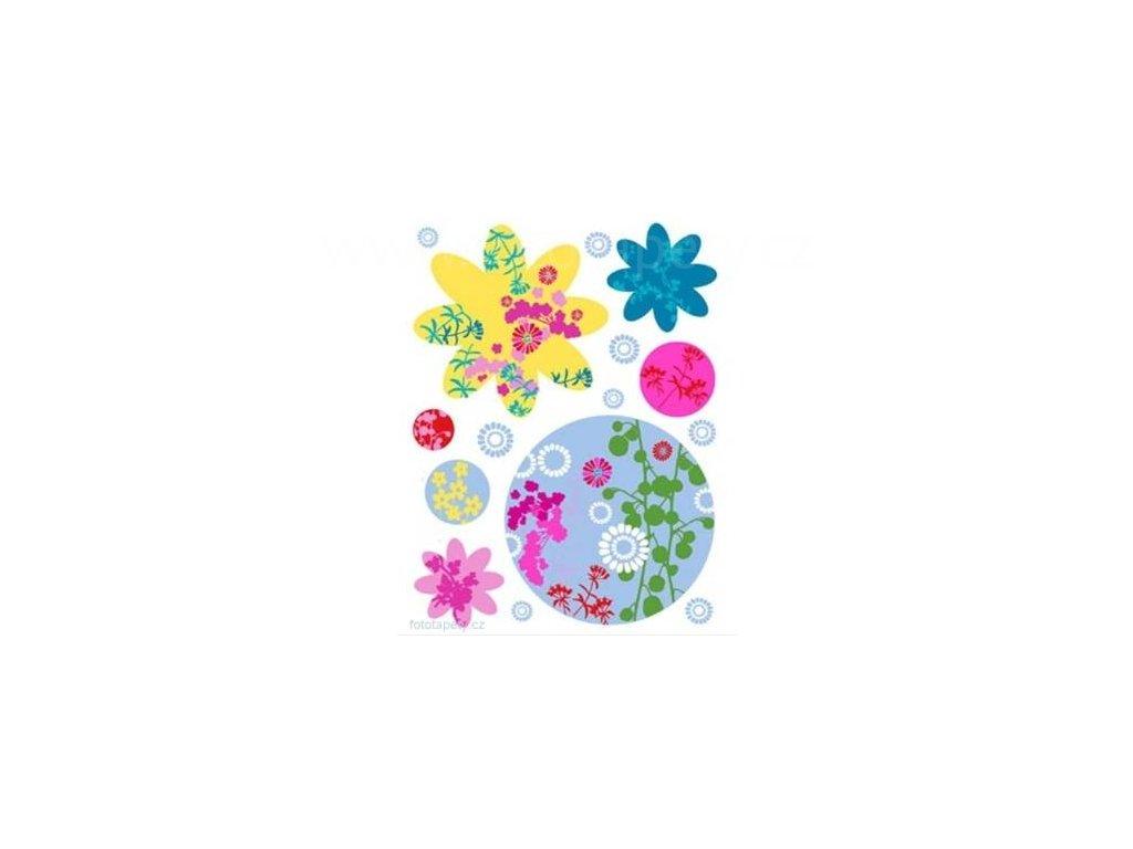Samolepka na zeď Barevné květy, 65 x 85 cm, 350-0112, poslední 1ks