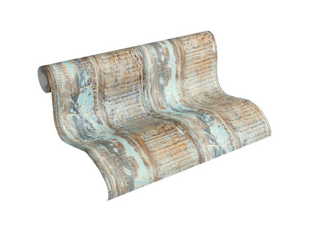 Vliesová tapeta na zeď Best of Wood & Stone 2, 0,53x10,05m, 3541-31 - modro hnědé dřevěné desky