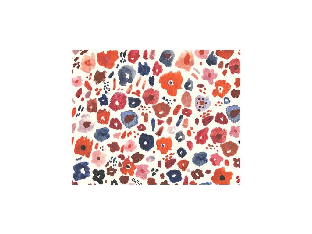Samolepící fólie imitace Decor, Červené a modré květy