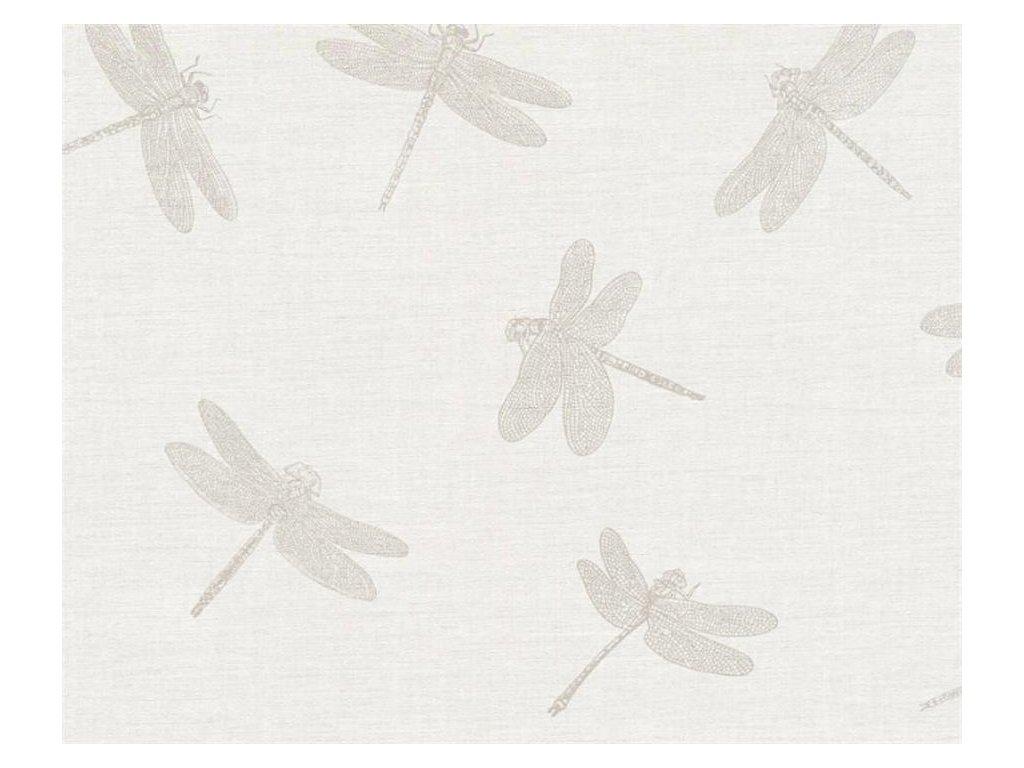Vliesová tapeta Four Seasons, 0,53x10,05m, 3589-72 - béžové vážky