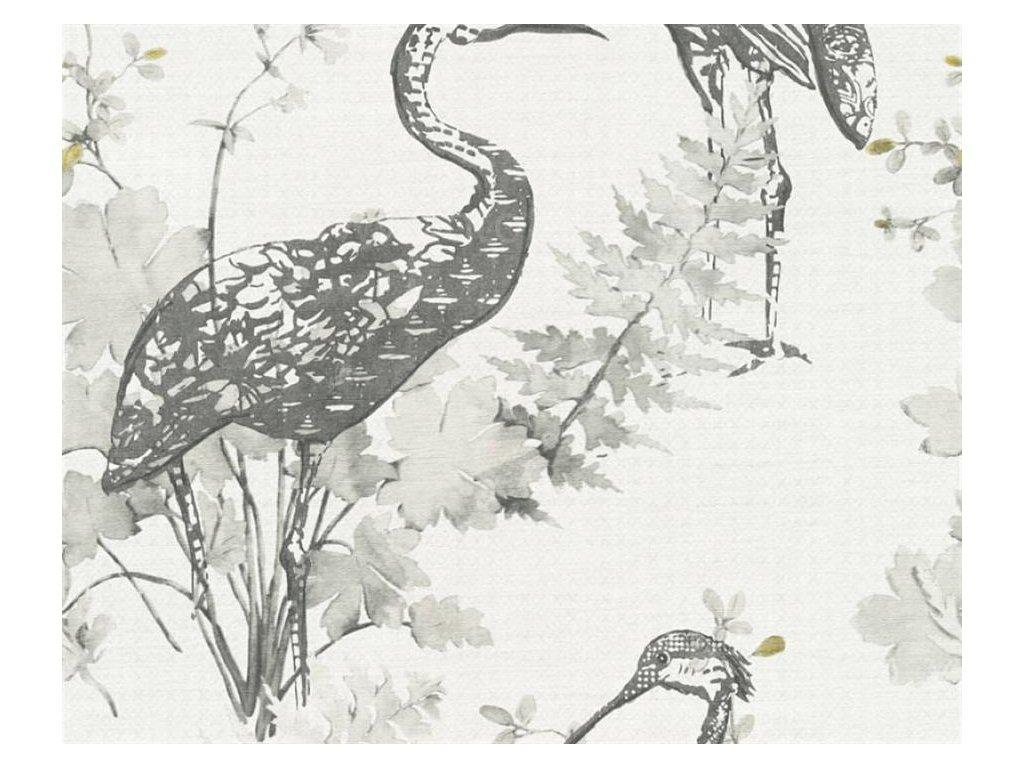 Vliesová tapeta Four Seasons, 0,53x10,05m, 3609-23 - šedí jeřábi