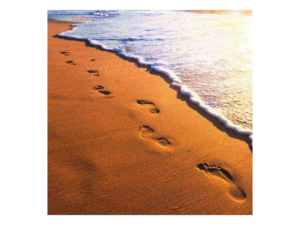 Samolepící fototapeta na podlahu - Stopy v písku, 170x170cm, 007