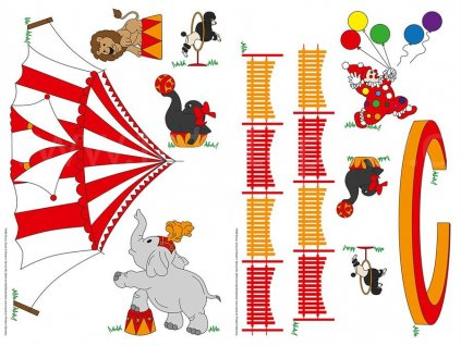 Samolepící dekorace Circus, Circus, W+G, 2 archy 22x33cm, DOPRODEJ!