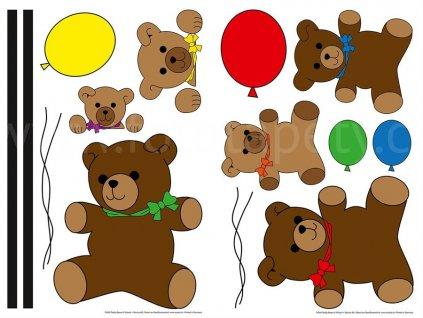 Samolepící dekorace Medvídci, W+G, 2 archy 22x33cm, skladem poslední 1ks!!