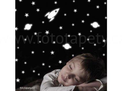 Dětská svítící samolepka - Raketa, hvězdy, planeta, 15x31cm, 77226