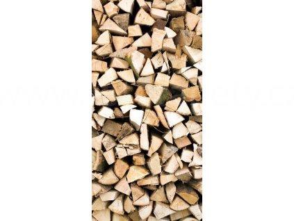 Samolepící fototapeta na podlahu - Dřevěná polena, 85x170cm, 019