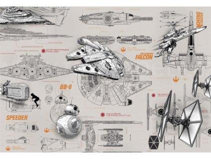 Star wars - Plány, fototapeta na zeď osmidílná, 368x254cm, 8D 8-493