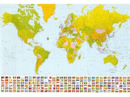 Mapa světa, papírová fototapeta osmidílná, 8D ID 280, 366x254cm, skladem poslední 1ks