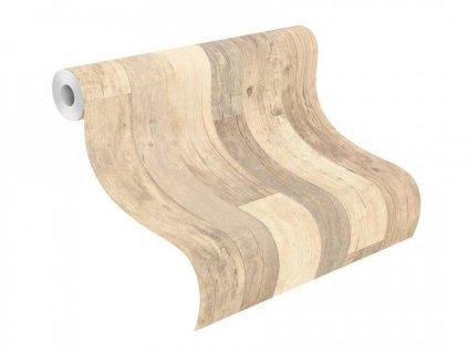 Vliesová tapeta na zeď Rasch - Factory III, 0,53x10,05m, 941630 - béžové dřevěné desky