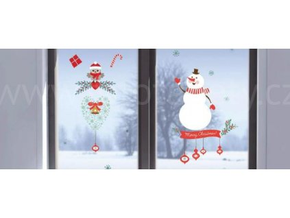 Elektrostatická okenní dekorace Sněhulák a sovička, 22x67cm,skladem poslední 2 ks