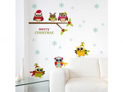 Vánoční samolepící dekorace Sovičky v zimě, 22x67cm