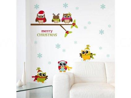 Vánoční samolepící dekorace Sovičky v zimě, 22x67cm, doprodej