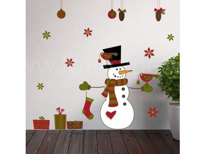 Vánoční samolepící dekorace Sněhulák, 22x67cm, doprodej
