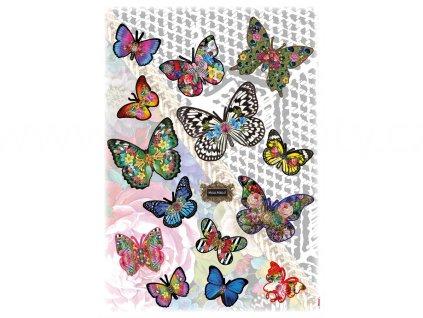 Samolepící dekorace Pestrobarevní motýlci, 50x70cm