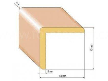 Dřevěná rohová lišta, 43x43 mm (Varianta borovice 1 metr)
