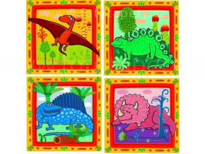 Korková dětská podložka - Dinosauři - sada 4ks