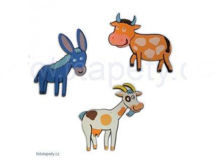 Pěnové figurky Oslík, koza, kráva