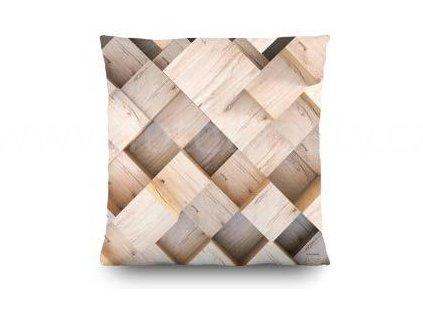 Dekorační foto polštářek Dřevěné krychle, 45x45cm, CN3607