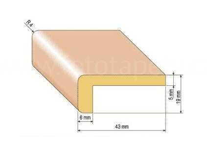 Dřevěná rohová lišta, 43x19 mm (Varianta borovice 1 metr)