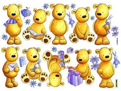 Samolepící sada medvídků - lze opakovaně nalepovat!, 50x70cm