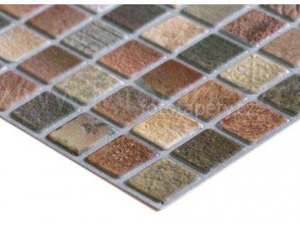 3D vinylový omyvatelný obkladový panel - Mozaika hnědá II, 93,5x46,9cm, D0014
