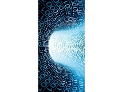 Samolepící fototapeta na dveře - Matrix tunel modrý, 95x210 cm, D036